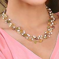 Cultured pearl and citrine beaded necklace, 'Awakening' - Beaded Multigem Pearl Necklace