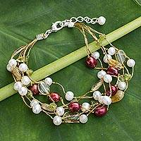Cultured pearl and citrine beaded bracelet, 'Spring Awakening' - Pearl and Citrine Beaded Bracelet