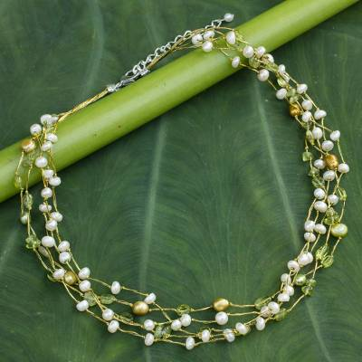 Cultured pearl and peridot beaded necklace, 'Cloud Forest' - Pearl and Peridot Necklace