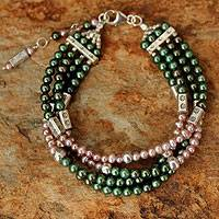 Cultured pearl beaded bracelet, 'Shimmering'