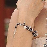 Cultured pearl and tourmalinated quartz beaded bracelet, 'Sweet Sophistication' - Handcrafted Beaded Pearl and Quartz Bracelet