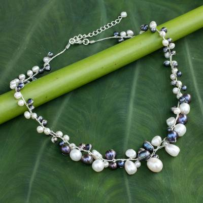 Cultured pearl beaded necklace, 'Monochrome Harmony' - Unique Pearl Necklace