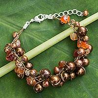 Cultured pearl beaded bracelet, 'Earth Belle' - Cultured pearl beaded bracelet