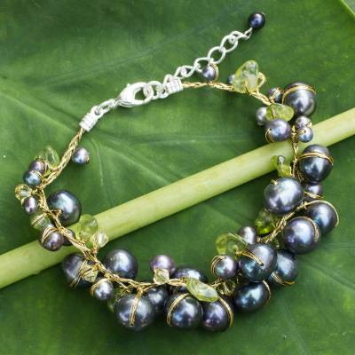 Cultured pearl and peridot beaded bracelet, 'Mist Queen' - Hand Made Peridot and Pearl Bracelet from Thailand
