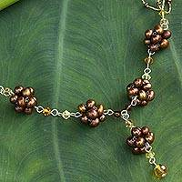 Cultured pearl flower necklace, 'Bronze Mums' - Unique Floral Y Necklace from Thailand