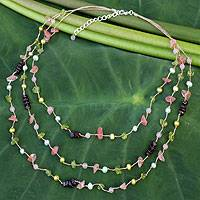Cultured pearls and peridot beaded necklace, 'Sweet Tropical' - Bohemian Pearl and Multigem Silver Plated Necklace