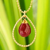Gold vermeil ruby pendant necklace, 'Empress' - Gold Vermeil Ruby Pendant Necklace