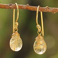 Gold vermeil and rutile quartz dangle earrings, 'Sublime Elegance' - Thai Gold Vermeil and Rutile Quartz Dangle Earrings