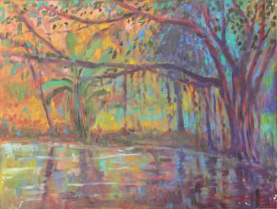 'Pond in the Garden' - Original Oil Painting from Thailand