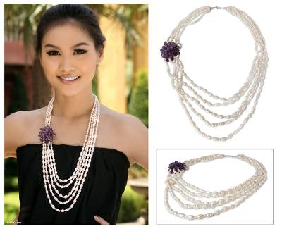 Cultured pearl and amethyst strand necklace, 'Purple Snow Peony' - Pearl and Amethyst Strand Necklace