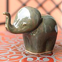 Celadon ceramic statuette, 'Olive Elephant Child' - Artisan Crafted Ceramic Elephant Sculpture