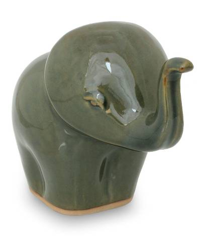 Artisan Crafted Ceramic Elephant Sculpture