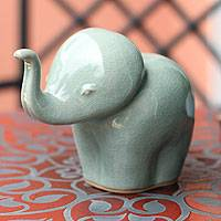 Celadon ceramic statuette, 'Baby Blue Elephant Child' - Hand Made Celadon Ceramic Sculpture