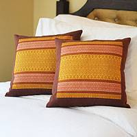 Cotton cushion covers, 'Thai Sunshine' (pair) - Cotton Cushion Covers (Pair)