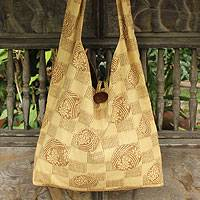Cotton shoulder bag, 'Golden Blooms' - Cotton shoulder bag