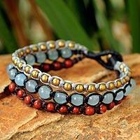 Jasper beaded bracelet, 'Urban Colors'