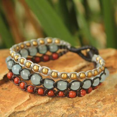 Jasper beaded bracelet, 'Urban Colors' - Brass Beaded Jasper and Quartz Bracelet
