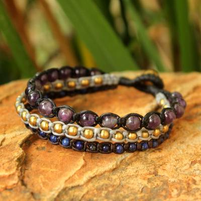 Amethyst and lapis lazuli beaded bracelet, 'Urban Colors' - Amethyst and lapis lazuli beaded bracelet