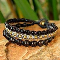 Smoky quartz beaded bracelet, 'Urban Colors'