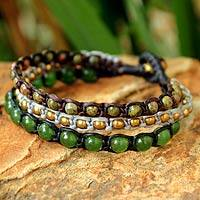 Unakite beaded bracelet, 'Urban Colors' - Fair Trade Unakite Beaded Bracelet