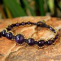 Amethyst beaded bracelet, 'Fervent Passion'