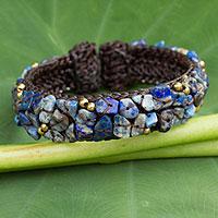 Lapis lazuli cuff bracelet, 'Ocean Day' - Thai Braided Cuff Bracelet with Lapis Lazuli