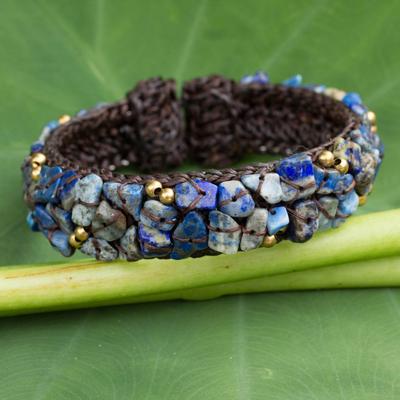 Lapis lazuli cuff bracelet, 'Ocean Day' - Fair Trade Lapis Lazuli Cuff Bracelet