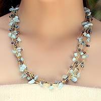 Cultured pearl and aquamarine beaded necklace, 'Afternoon Sigh' - Thai Beaded Pearl and Aquamarine Waterfall Necklace