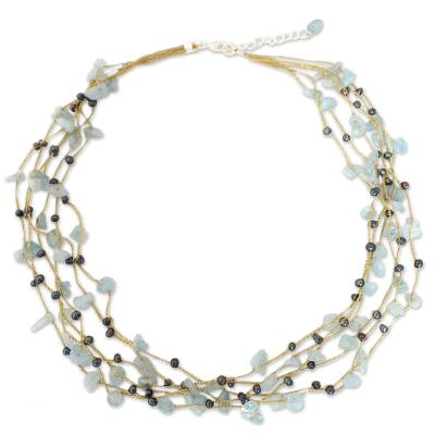 Hand Made Thai Beaded Pearl and Aquamarine Necklace