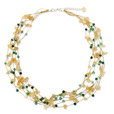Citrine and Green Agate Beaded Necklace