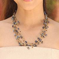 Lapis lazuli beaded necklace, 'Afternoon Blue'
