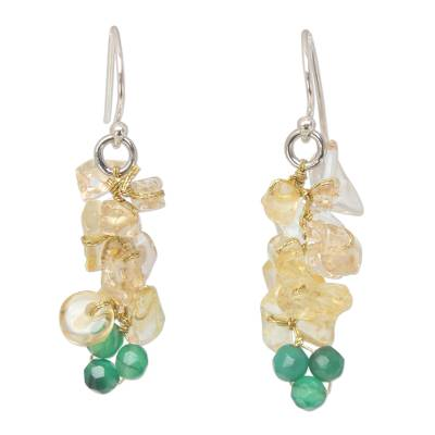 Citrine beaded cluster earrings, 'Afternoon Sun' - Beaded Citrine Dangle Earrings