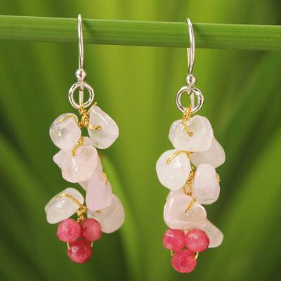 Rose quartz cluster earrings, Afternoon Pink