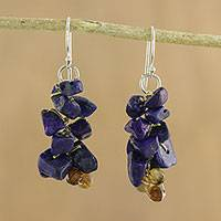 Lapis lazuli cluster earrings, 'Afternoon Blue' - Artisan Jewelry Lapis Lazuli Dangle Earrings