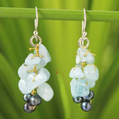 Cultured pearl and aquamarine cluster earrings, 'Afternoon Sigh' - Unique Aquamarine Dangle Earrings