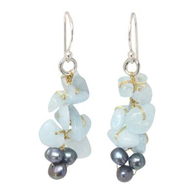 Unique Aquamarine Dangle Earrings