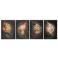'Faithfulness and Happiness II' (2012, set of 4) - Set of 4 Surrealist Paintings from Thailand