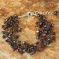 Cultured pearl and garnet beaded bracelet, 'Stormy Weather' - Hand Crafted Pearl and Garnet Bracelet