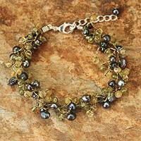 Cultured pearl and peridot beaded bracelet, 'Bright Passion' - Women's Beaded Citrine and Peridot Bracelet