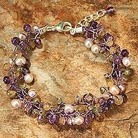 Cultured pearl and amethyst beaded bracelet, 'Mystic Passion' - Artisan Cluster Bracelet