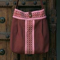 Cotton shoulder bag, 'Lanna Bouquet'