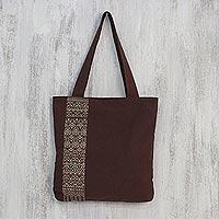 Cotton shoulder bag, 'Golden Lanna Lotus' - Handcrafted Cotton Embroidered Shoulder Bag