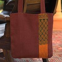 Cotton shoulder bag, 'Saffron Lanna'