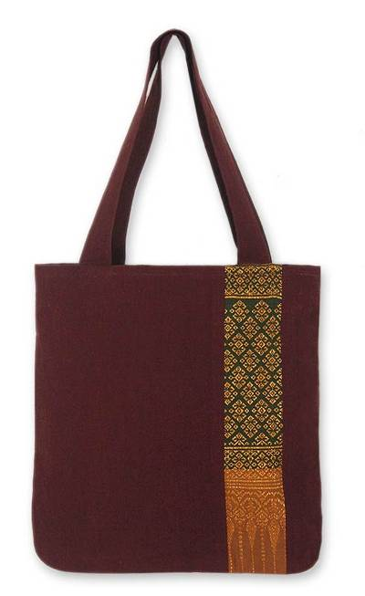 Cotton shoulder bag, 'Saffron Lanna' - Cotton Embroidered Tote Handbag