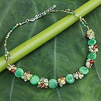 Cultured pearls and gemstone beaded necklace, 'Green Peonies' - Unique Beaded Multigem Necklace from Thailand