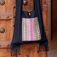 Cotton sling bag, 'Exotic Lanna' - Cotton Shoulder Bag Handmade in Thailand