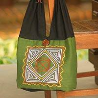 Cotton shoulder bag, 'Jade Secrets' - Thai Embroidered Cotton Shoulder Bag