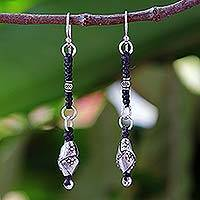 Silver dangle earrings, 'Tribal Knots' - Hill Tribe Silver Dangle Earrings