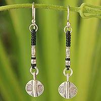 Silver dangle earrings, 'Tribal Art' - Unique Hill Tribe Silver Dangle Earrings