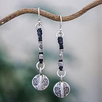 Silver dangle earrings, 'Tribal Art' - Unique Hill Tribe Silver Dangle Earrings